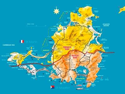 Saint Martin Sint Maarten - Map Sxm